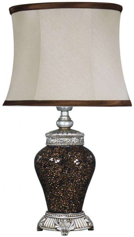Rogue Copper Sparkle Mosaic Antique Silver Lamp With