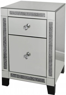 Sassari Mirrored Gunmetal Bedside Cabinet with Crystal Handles