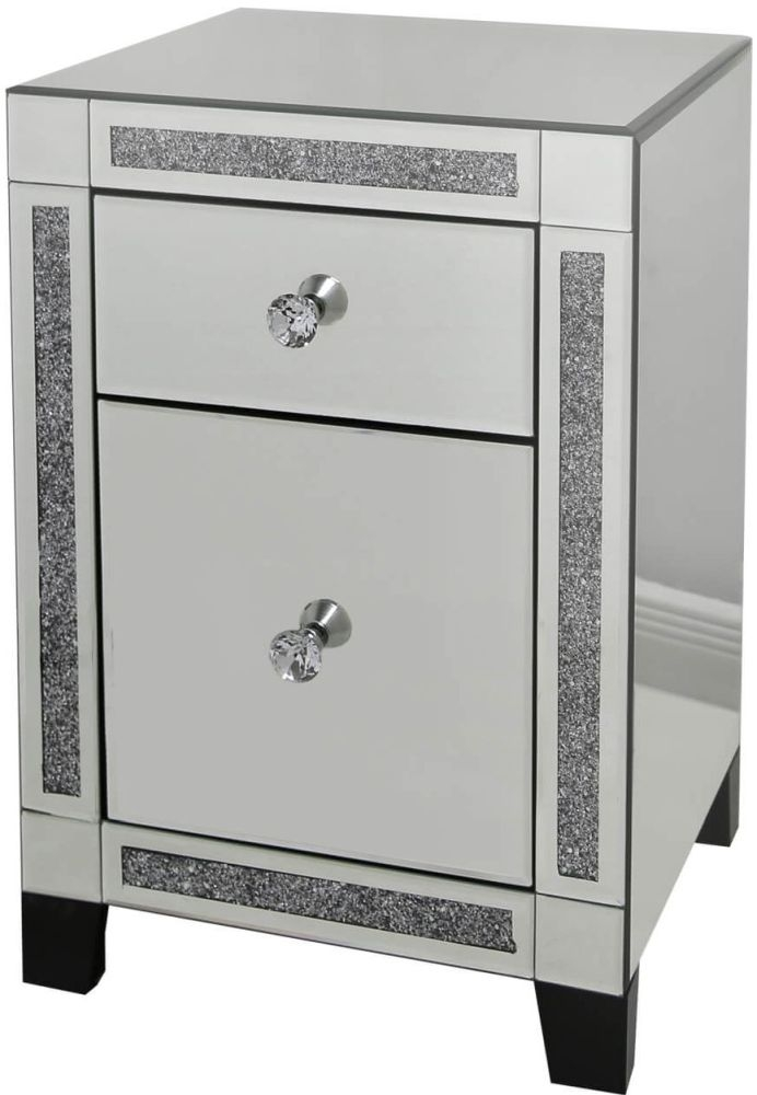Sassari Mirrored Gunmetal Bedside Cabinet with Crystal Handles (Set of 2)
