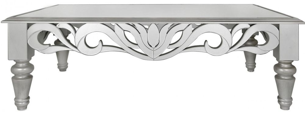 Sicula Mirrored Coffee Table with Silver Trim