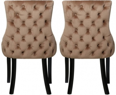 Champagne Velvet Tufted Back Dining Chair (Pair)
