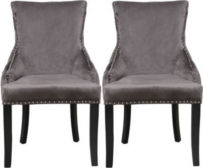 Grey Velvet Tufted Back Dining Chair (Pair)