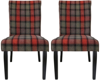 Tristan Highlander Dining Chair (Pair) - Taupe and Red Fabric