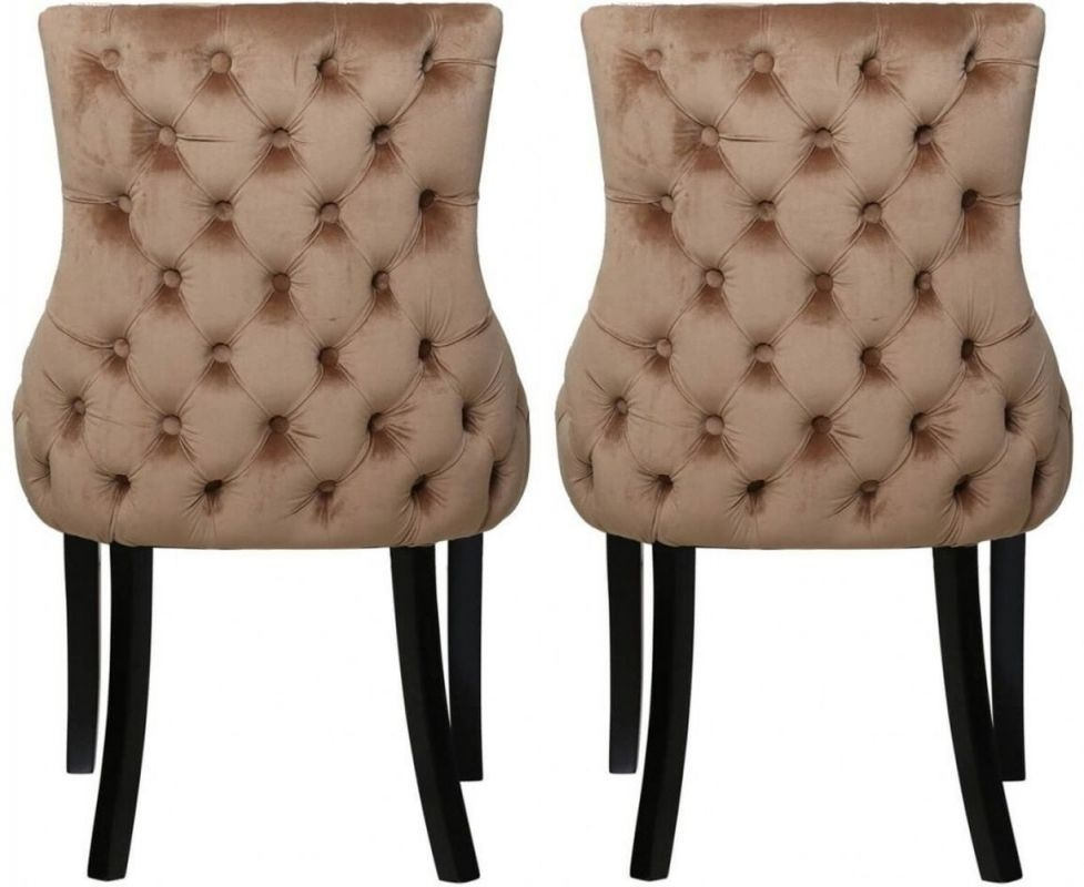 Strange Champagne Velvet Tufted Back Dining Chair Pair Ocoug Best Dining Table And Chair Ideas Images Ocougorg