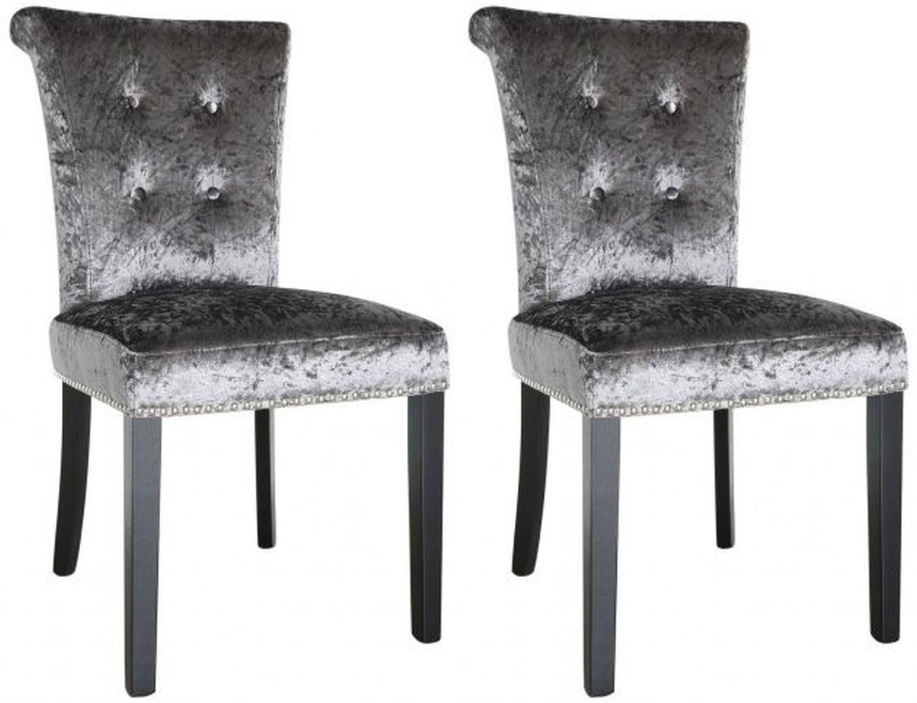 Hardy Dining Chair Silver Crushed Velvet (Pair)
