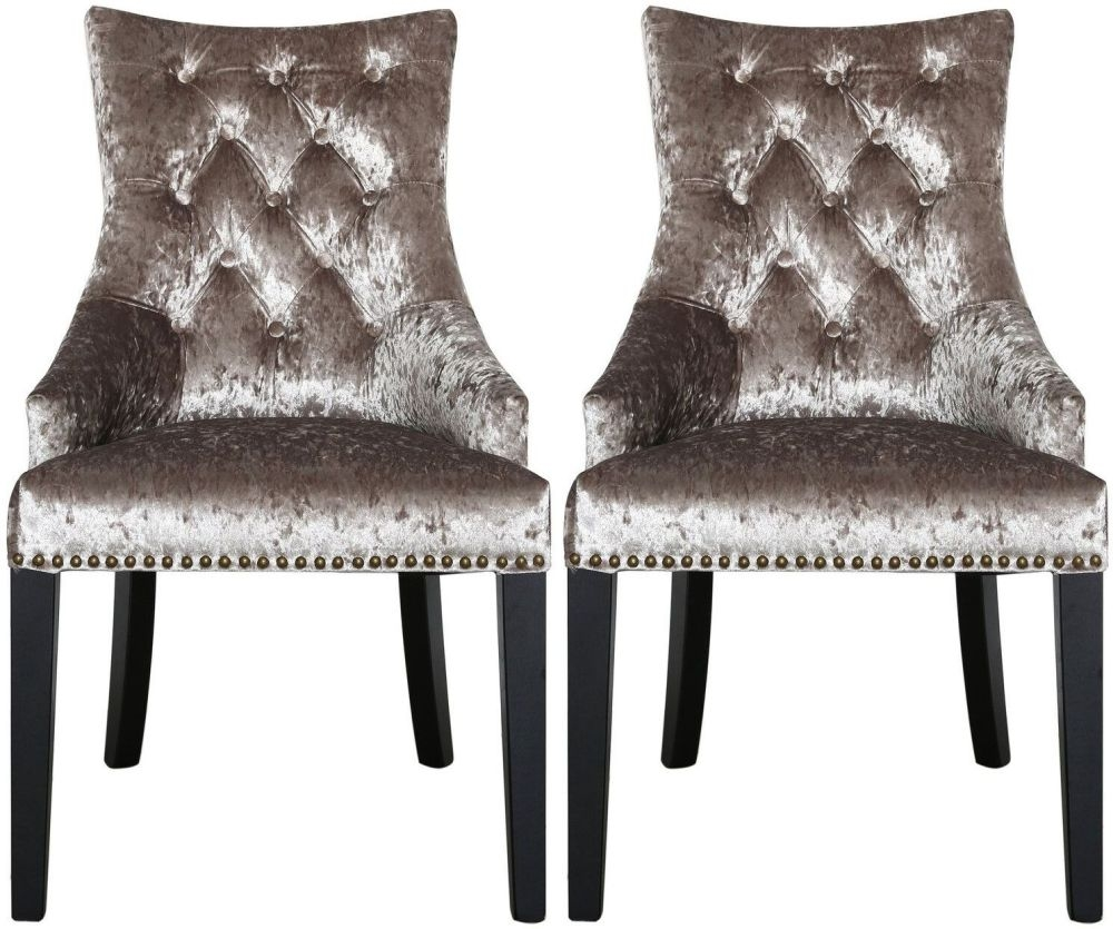 Zade Champagne Crushed Velvet Arm Dining Chair with Deep Button Back (Pair)