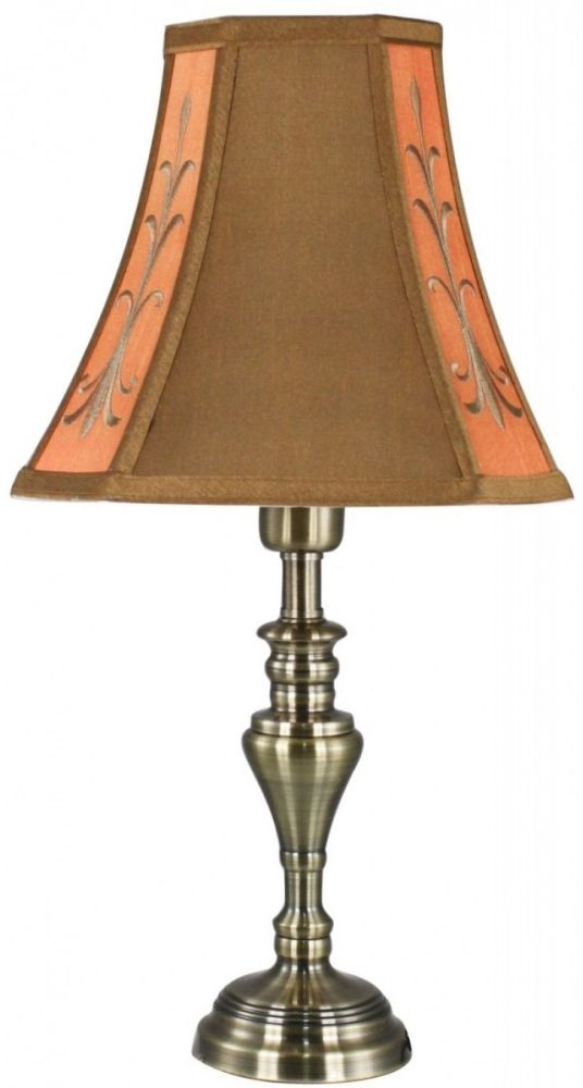 Springfield Antique Brass Small Table Lamp With Terracotta