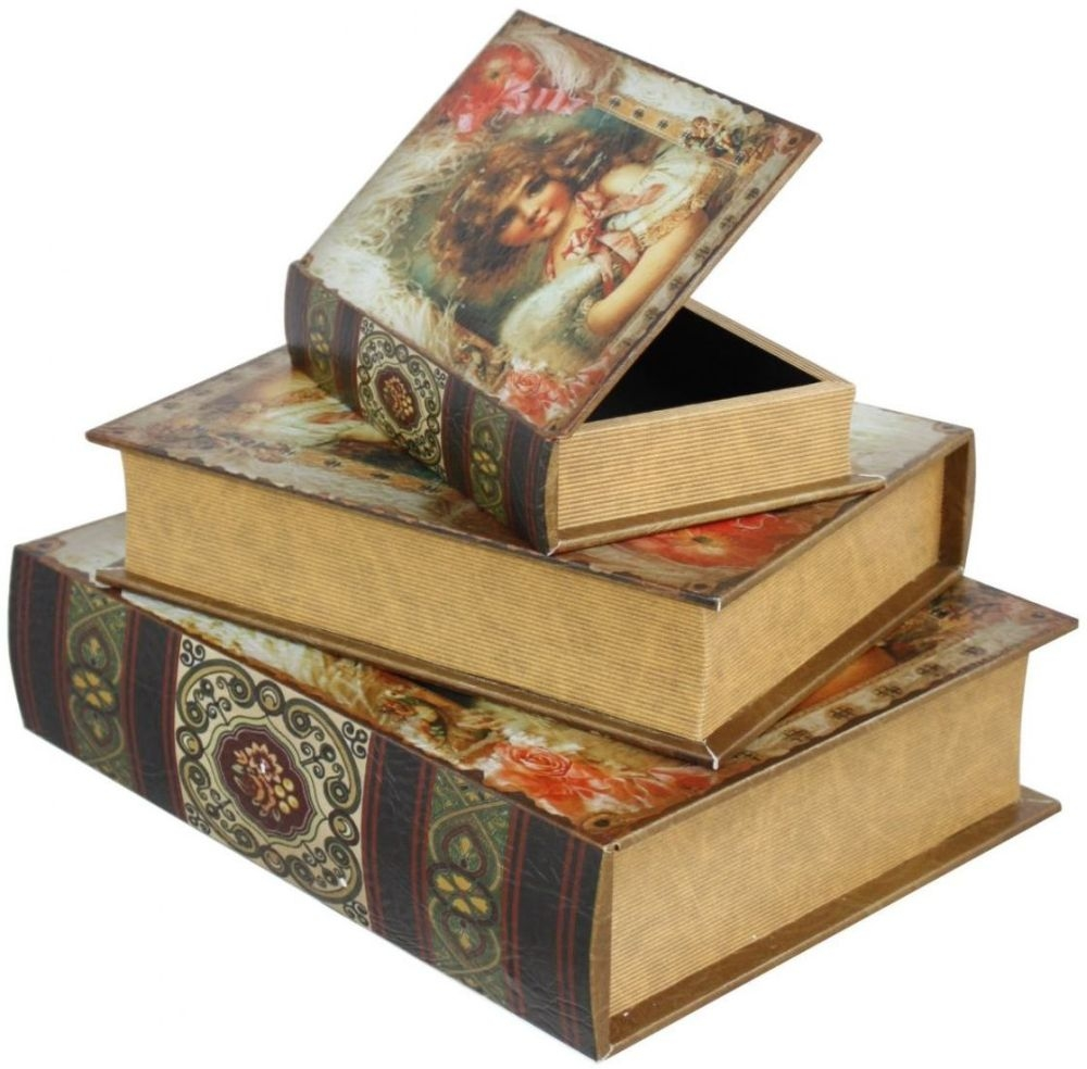 Low Wooden Stool Library Books : 3 CIMC Home Vintage Lillian Storage Books from furniturecompare.uk size 1000 x 984 jpeg 302kB