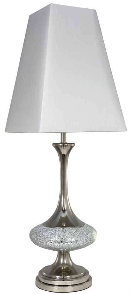 Silver mosaic disc table lamp with 12 inch pure white shade for 12 inch table lamp