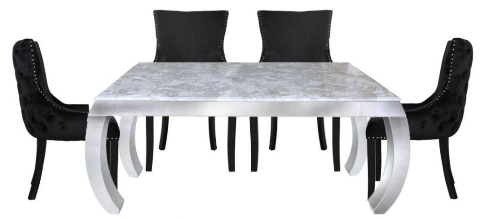 Swish Dining Table and 4 Geismar Black Chairs - Grey Marble Effect and Chrome