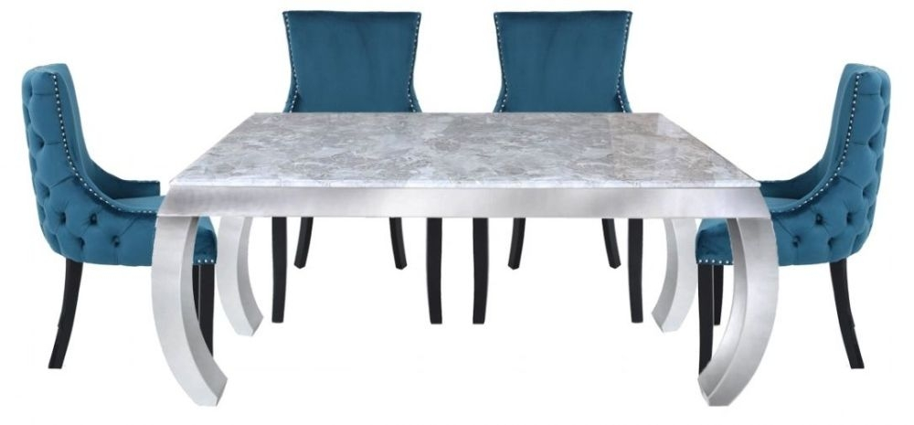 Swish Dining Table and 4 Geismar Green Chairs - Grey Marble Effect and Chrome