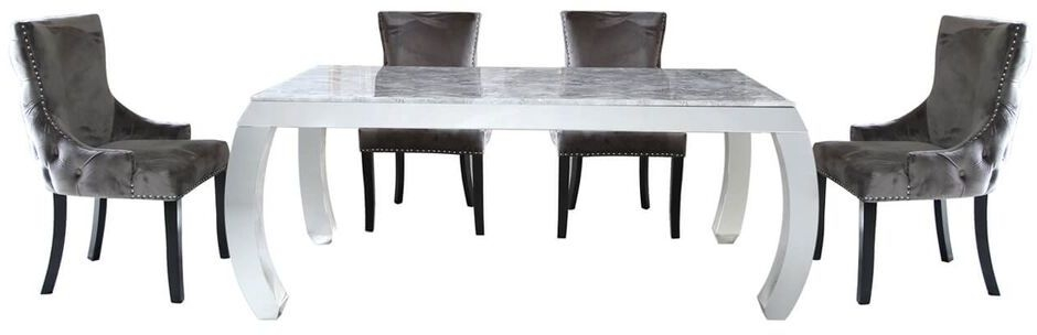 Swish Dining Table and 4 Grey Chairs - Marble Effect and Chrome