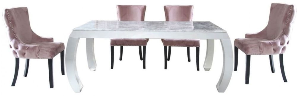 Swish Dining Table and 4 Pink Tufted Chairs - Marble Effect and Chrome