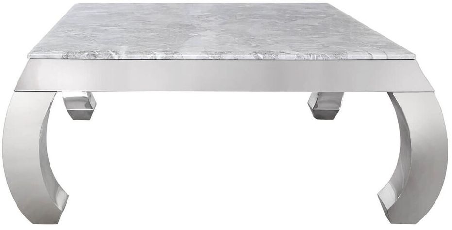 Swish Marble Coffee Table with Chrome Base