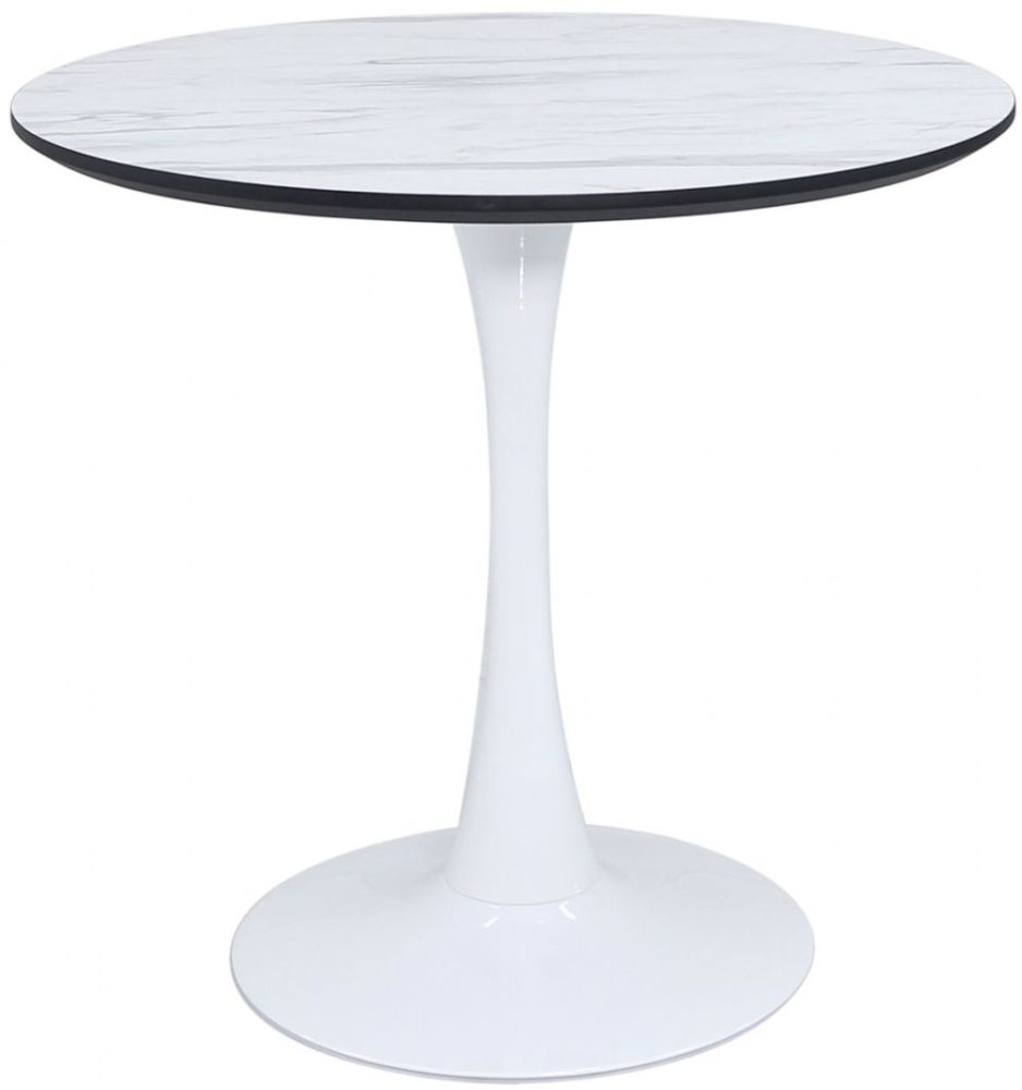 Tallulah White Marble Effect Round Dining Table