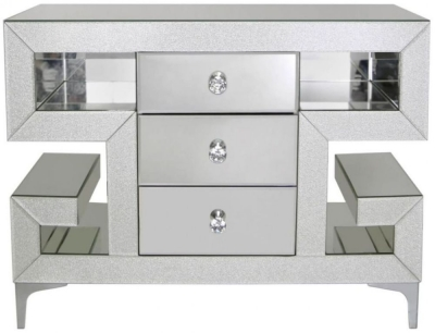 Tirana Champagne Sparkle Mirrored 3 Drawer Chest