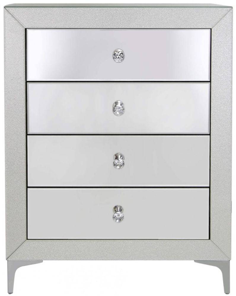 Tirana Champagne Sparkle Mirrored 4 Drawer Chest