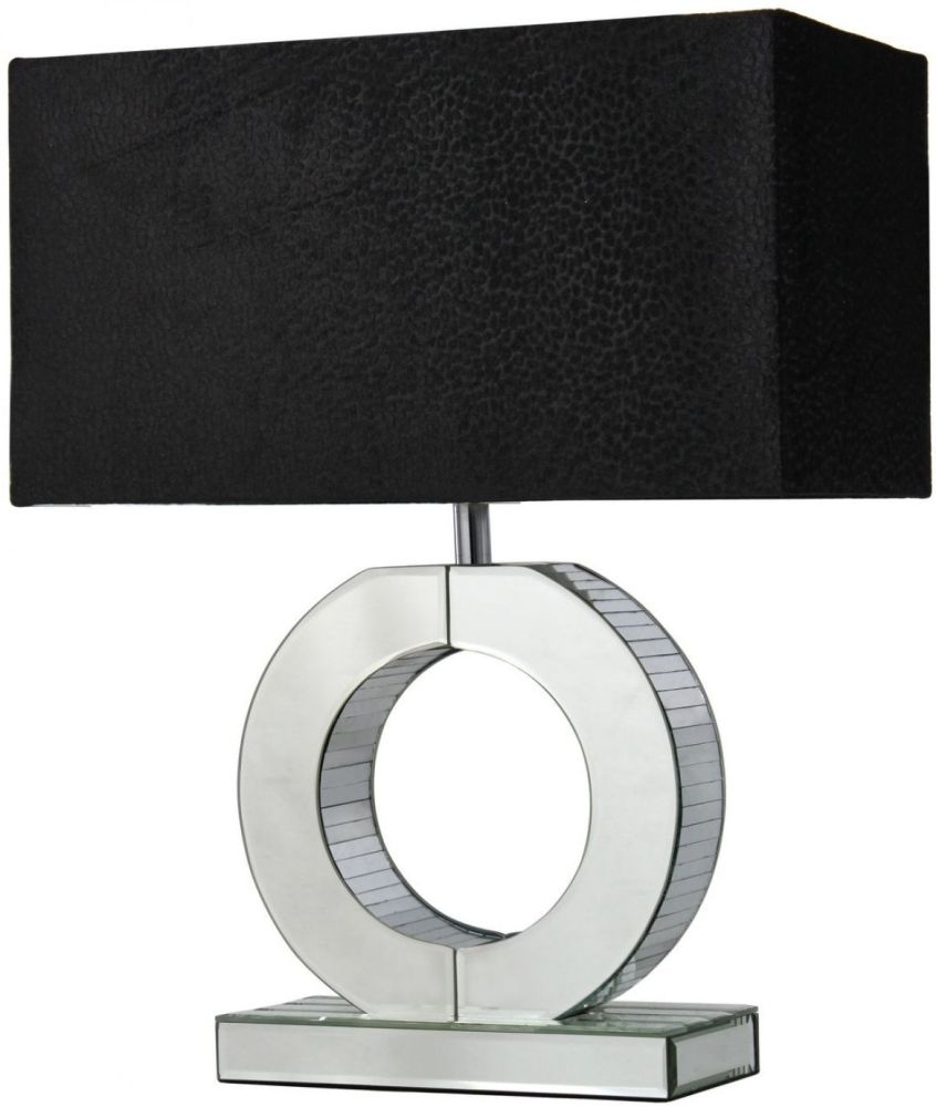 Silver mirror small metropolitan o lamp with black for Small silver mirror