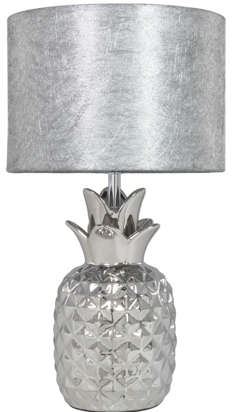 Pineapple silver table lamp with 10inch silver cobweb for 10 inch table lamp