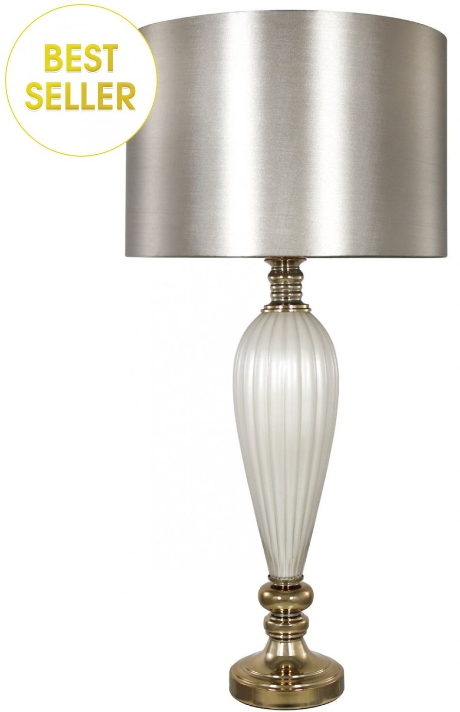 Berkeley Classical White Pearl Table Lamp With Gold Velvet