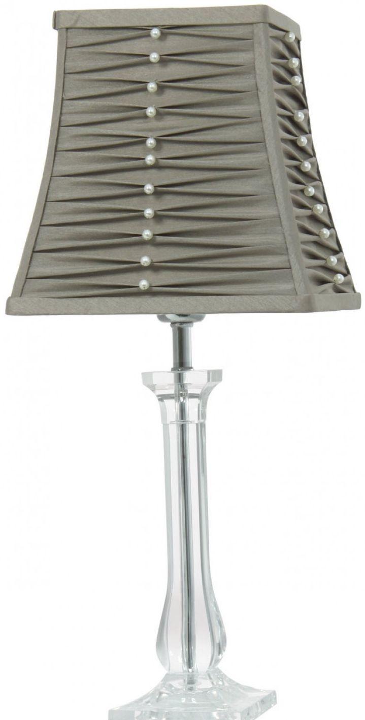 Photo of Velen acrylic table lamp with pleated dark taupe shade