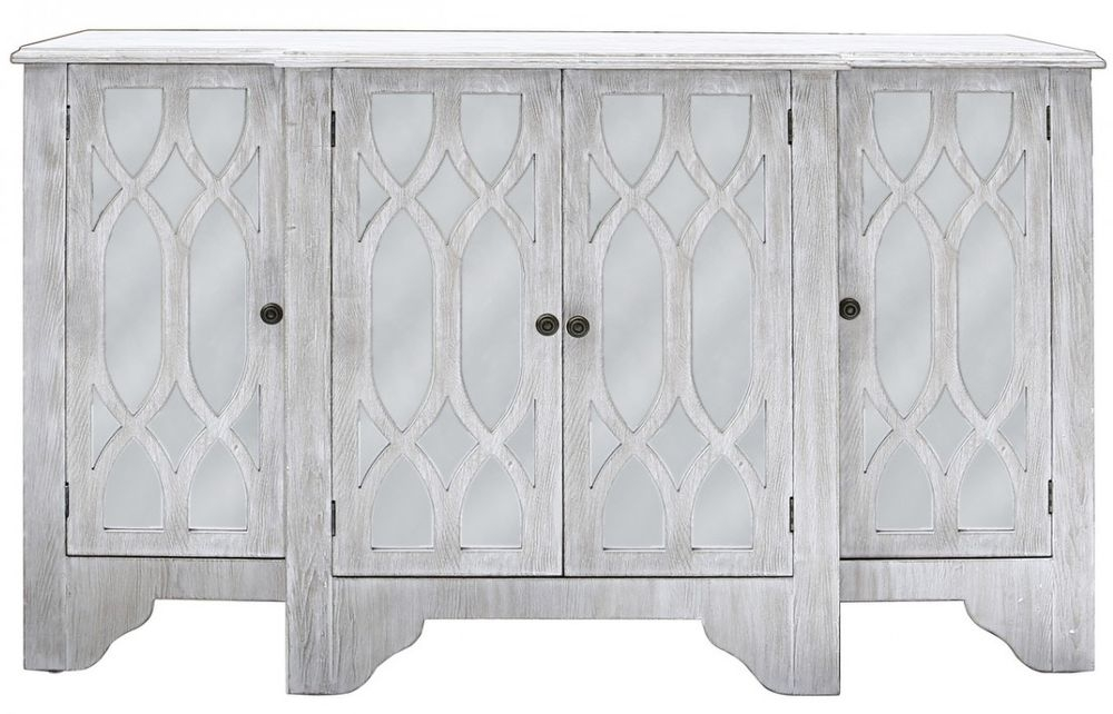 Valeria Washed Ash and Mirrored 4 Door Sideboard