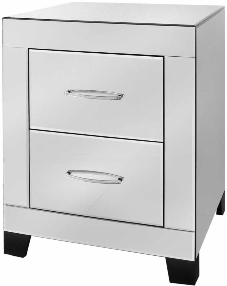 Ville Clear Mirrored Bedside Cabinet - 2 Drawer