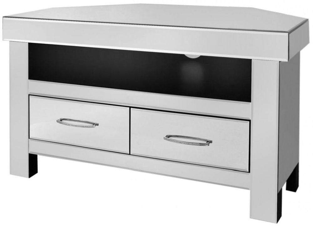 Ville Clear Mirrored Entertainment Unit - 2 Drawer Corner