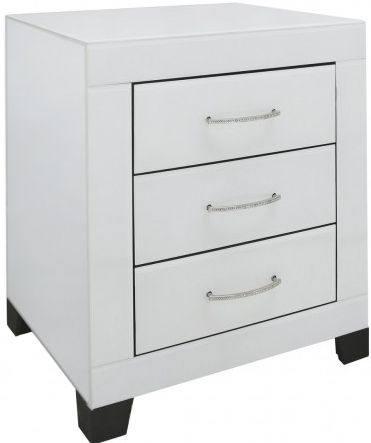 Ville Clear Mirrored Bedside Cabinet - 3 Drawer