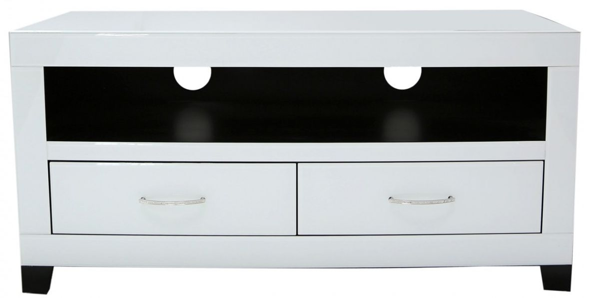 Ville White Glass Entertainment Unit - 2 Drawer