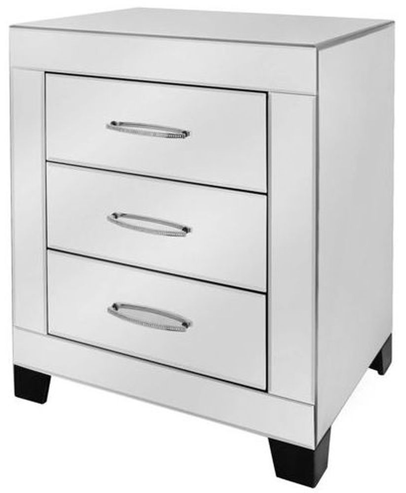 Ville White Glass Bedside Cabinet - 3 Drawer
