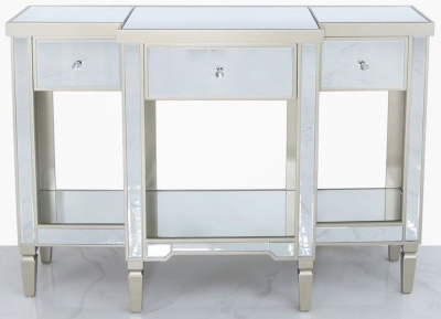 Wengen Champagne Trim Mirrored Large Console Table