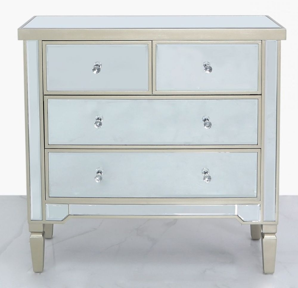 Wengen Champagne Trim Mirrored 2+2 Drawer Chest