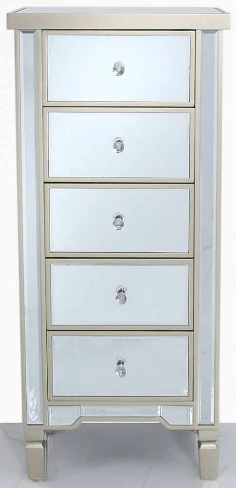 Wengen Champagne Trim Mirrored 5 Drawer Chest