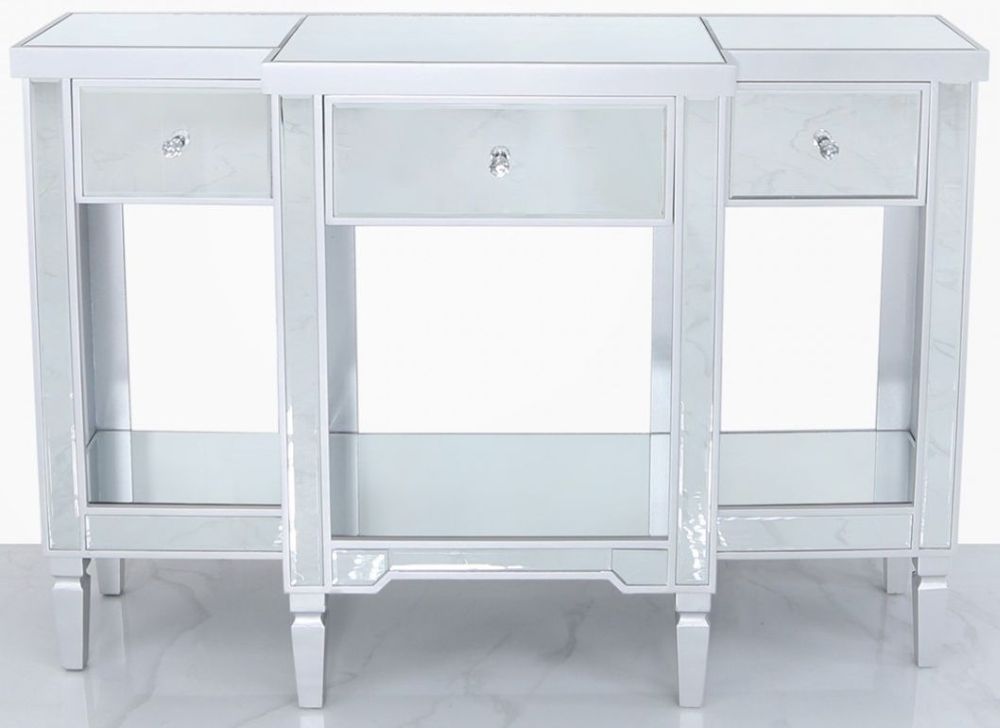 Wengen Silver Trim Mirrored Console Table