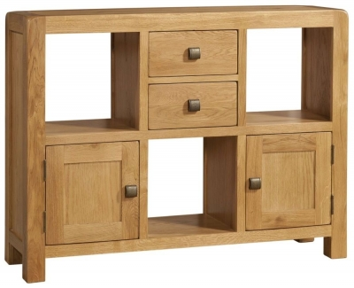 Avon Oak 2 Door 2 Drawer Low Display Cabinet