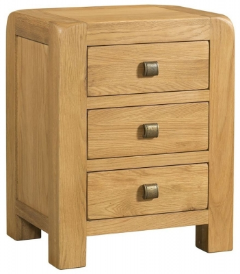 Avon Oak 3 Drawer Bedside Cabinet