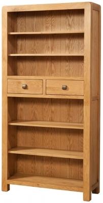 Devonshire Avon Oak Bookcase - Tall 2 Drawer