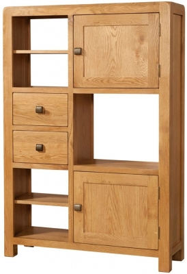 Devonshire Avon Oak High Display Cabinet - 2 Door 2 Drawer
