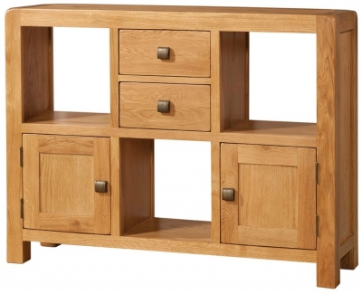 Devonshire Avon Oak Display Cabinet - Low 2 Door 2 Drawer