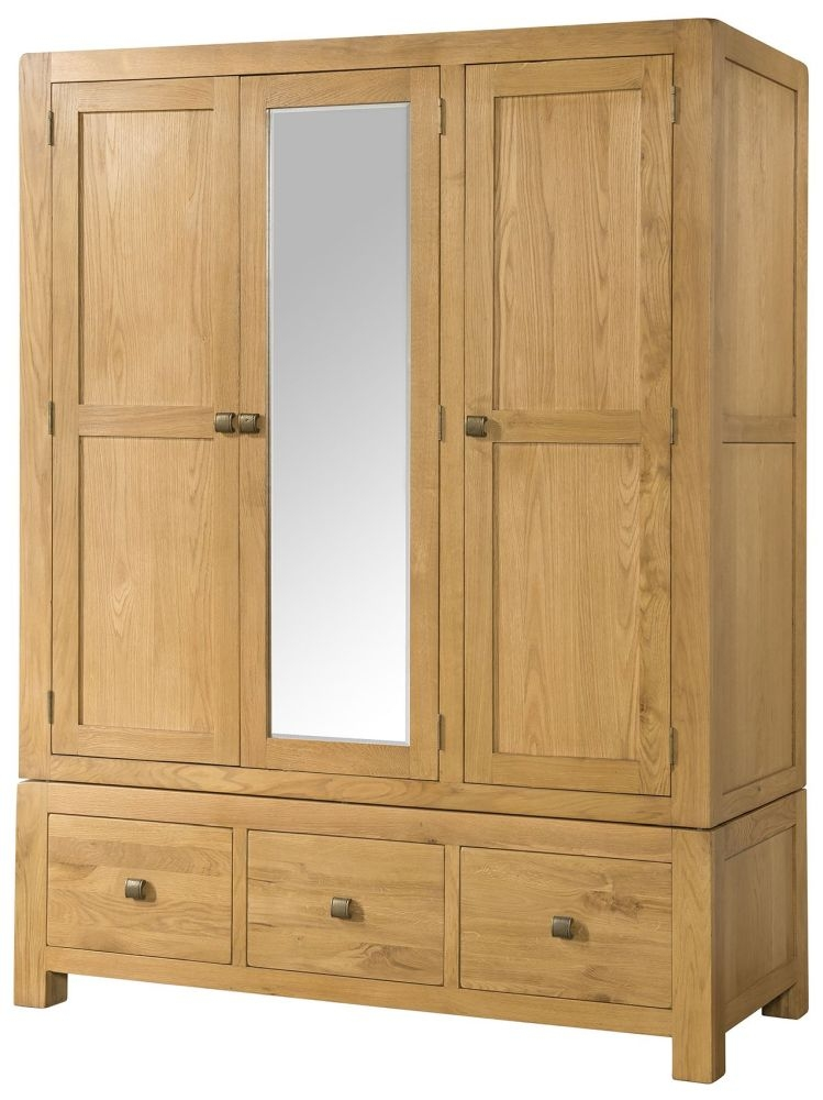 Devonshire Avon Oak 3 Door 3 Drawer Wardrobe