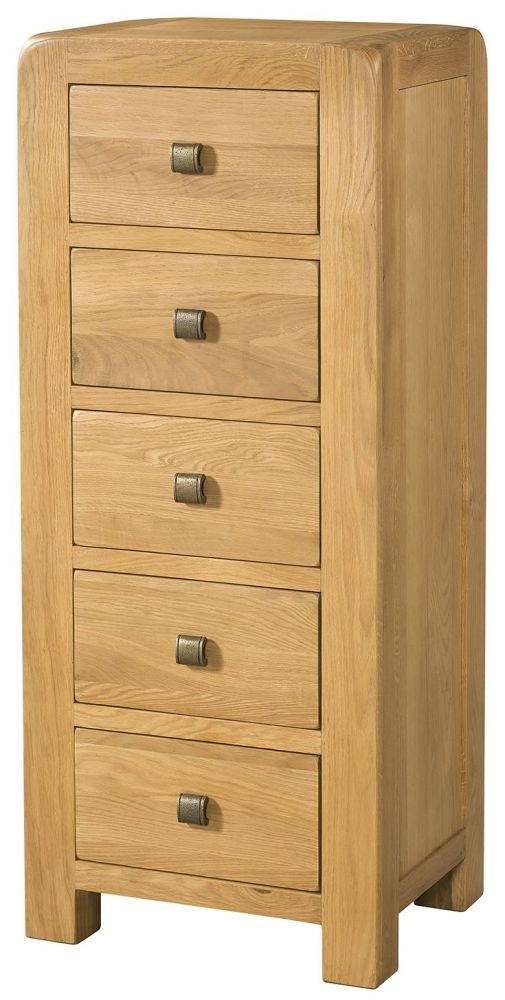 Devonshire Avon Oak 5 Tall Drawer Chest