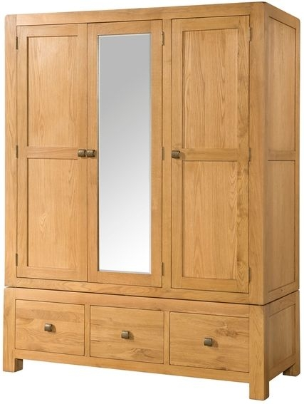 Devonshire Avon Oak Wardrobe - Triple 3 Drawer with Mirror