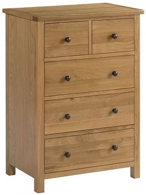 Burford Oak 2 Over 3 Drawer Chest