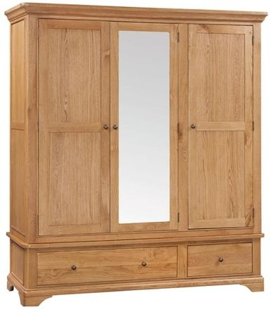 Devonshire Chambery Oak Wardrobe - 3 Door 2 Drawer