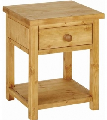 Devonshire Chunky Pine Bedside Cabinet - 1 Drawer