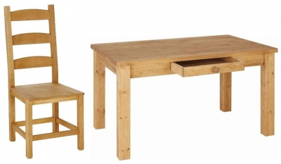 Devonshire Chunky Pine Dining Set with 4 Amish Beech Chairs