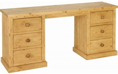 Devonshire Chunky Pine Dressing Table - Double Pedestal