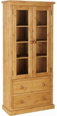 Devonshire Chunky Pine Glass Display Cabinet - 2 Door 2 Drawer
