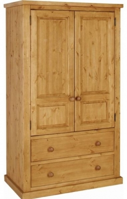 Devonshire Chunky Pine Wardrobe - 2 Door 2 Drawer